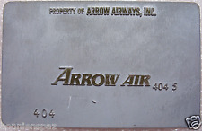 Vintage Arrow Air Metal Ticket Validation Plate, Travel,  Airline Collectible
