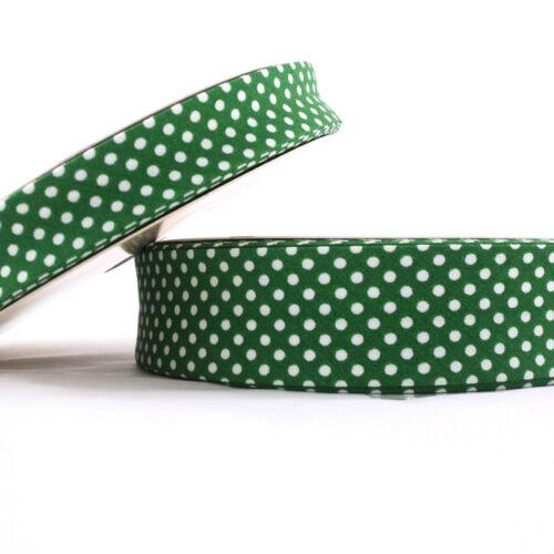 Green Cotton Fabric Folded Trim 18mm Dot Bias Binding