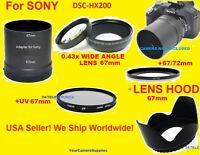 0.43x Wide Angle Lens 72mm+adapter For Sony Dsc-hx200+hood+uv 67mm+67/72 Hx200v