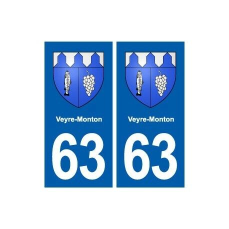 63 Veyre-Monton blason autocollant plaque stickers ville -  Angles : droits