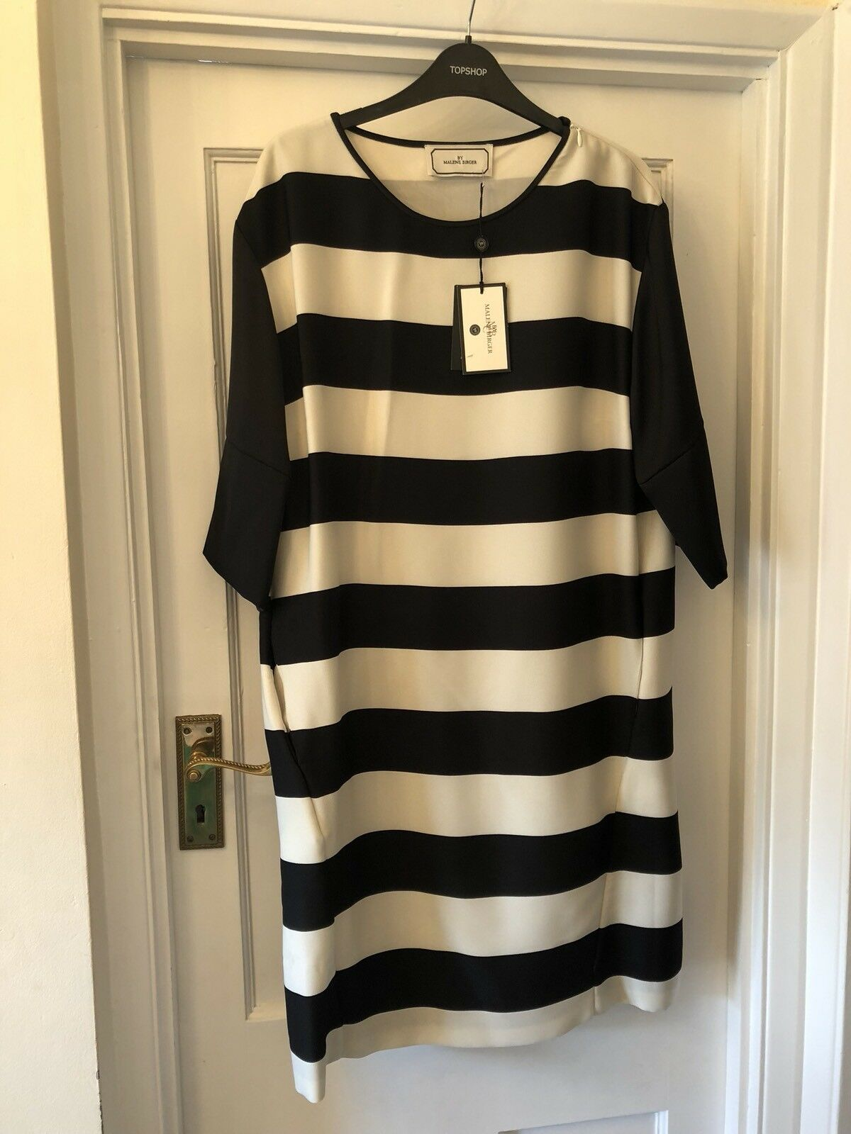 New By Malene Birger schwarz & Weiß Monochrome Block Stripe Contrast Dress,40 14