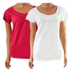 Womens-Ladies-Solid-Cotton-Lace-Trim-Top-White-Pink-Scoop-Neck-Casual-T-shirt