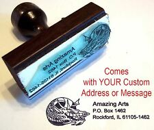 Dragon Face Rubber Stamp With Custom Address/Message
