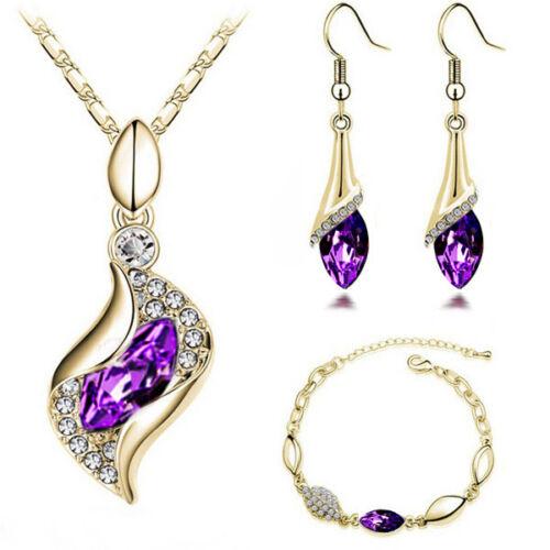 Fashion Silver Plated Crystal CZ Pendant Necklace Earrings Bracelet Jewelry Set