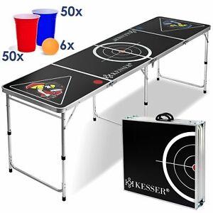 Details zu KESSER® Beer Pong Tisch Set inkl. 100 Becher (50 Rot & 50 Blau) 6 Bälle Style