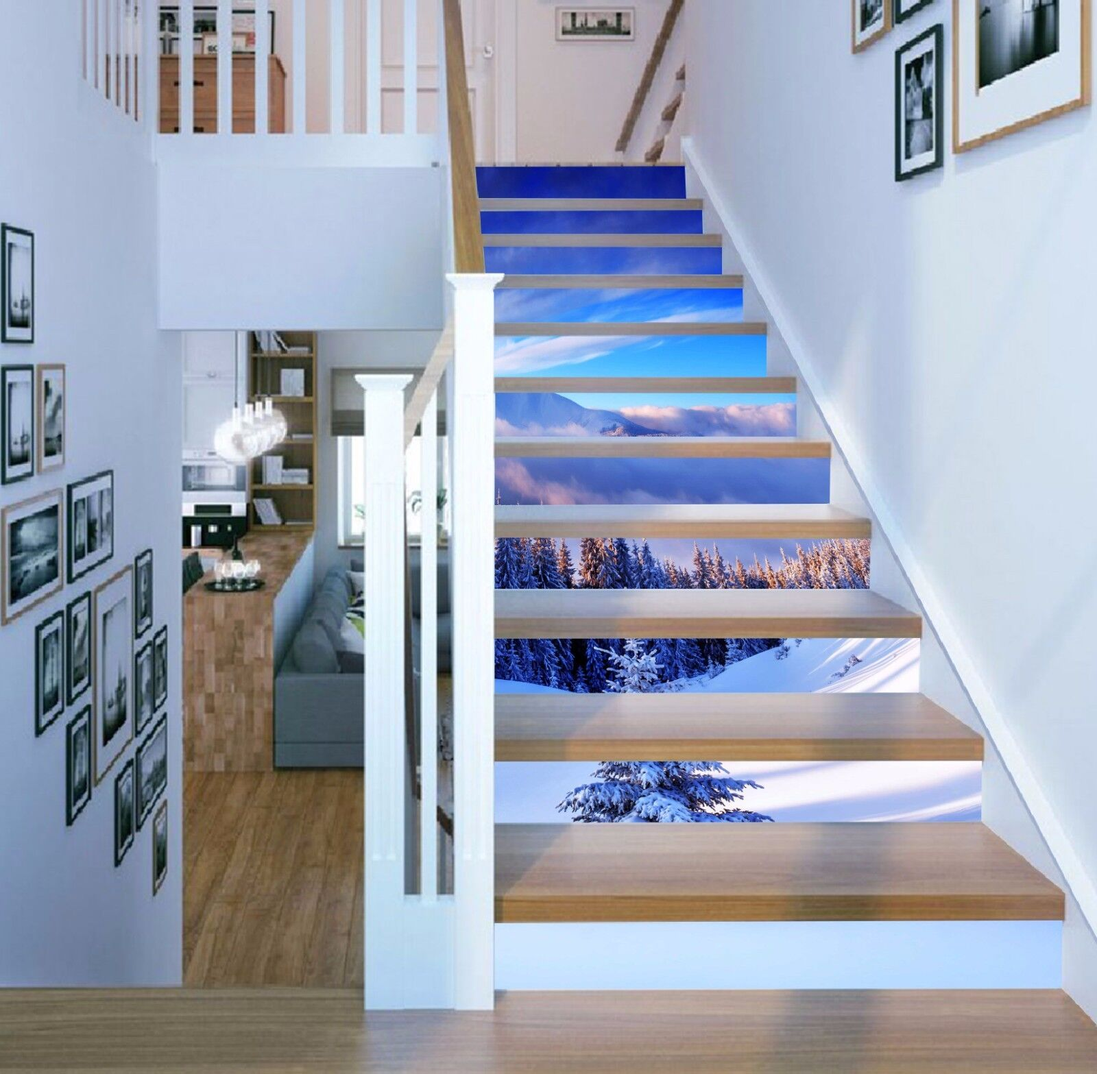 3D Snow Mountain 80 Stair Risers Decoration Photo Mural Vinyl Decal Wallpaper AU