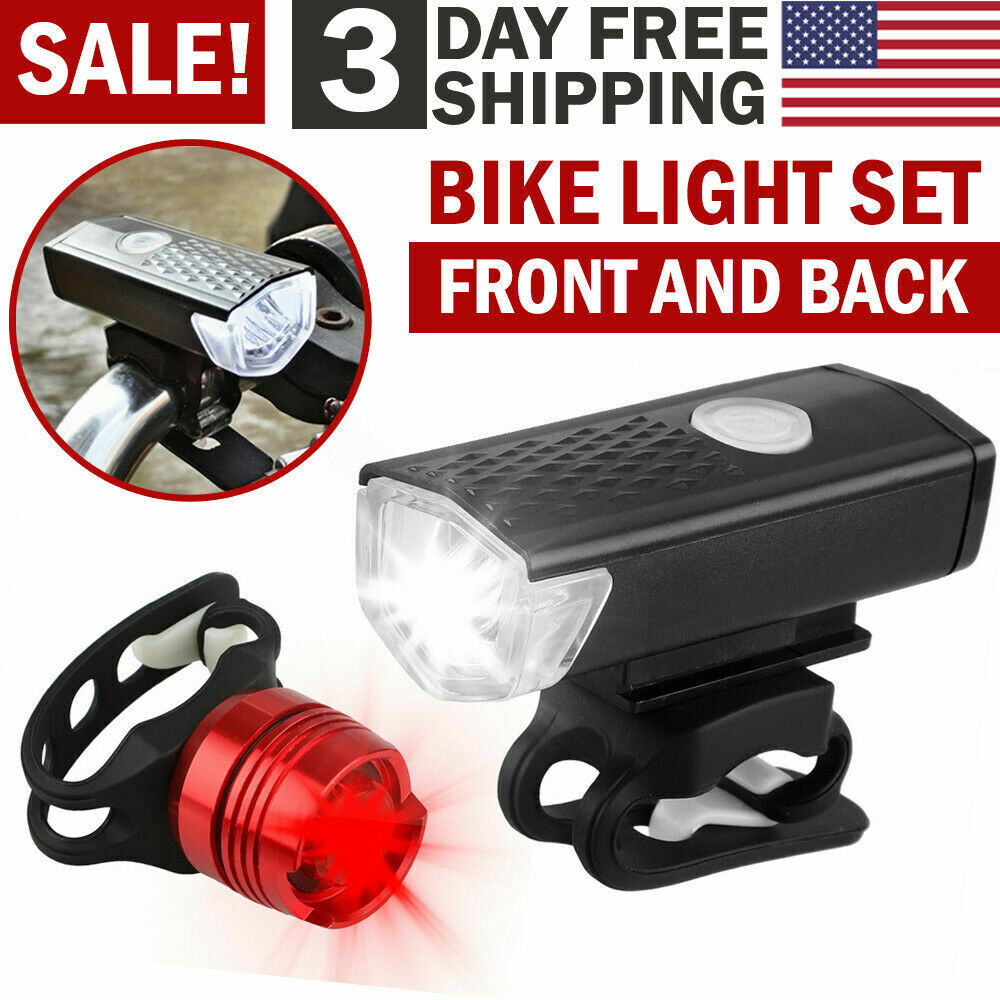 2400 Lumen USB Rechargeable Bicycle Head Front Rear Light LED Flashlight Lamp