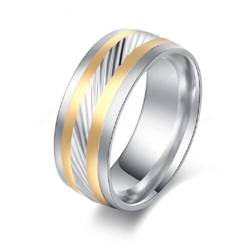Damen Edelstahl Ring Inlay  18k 750er  vergoldet und poliert Geschenk RED21