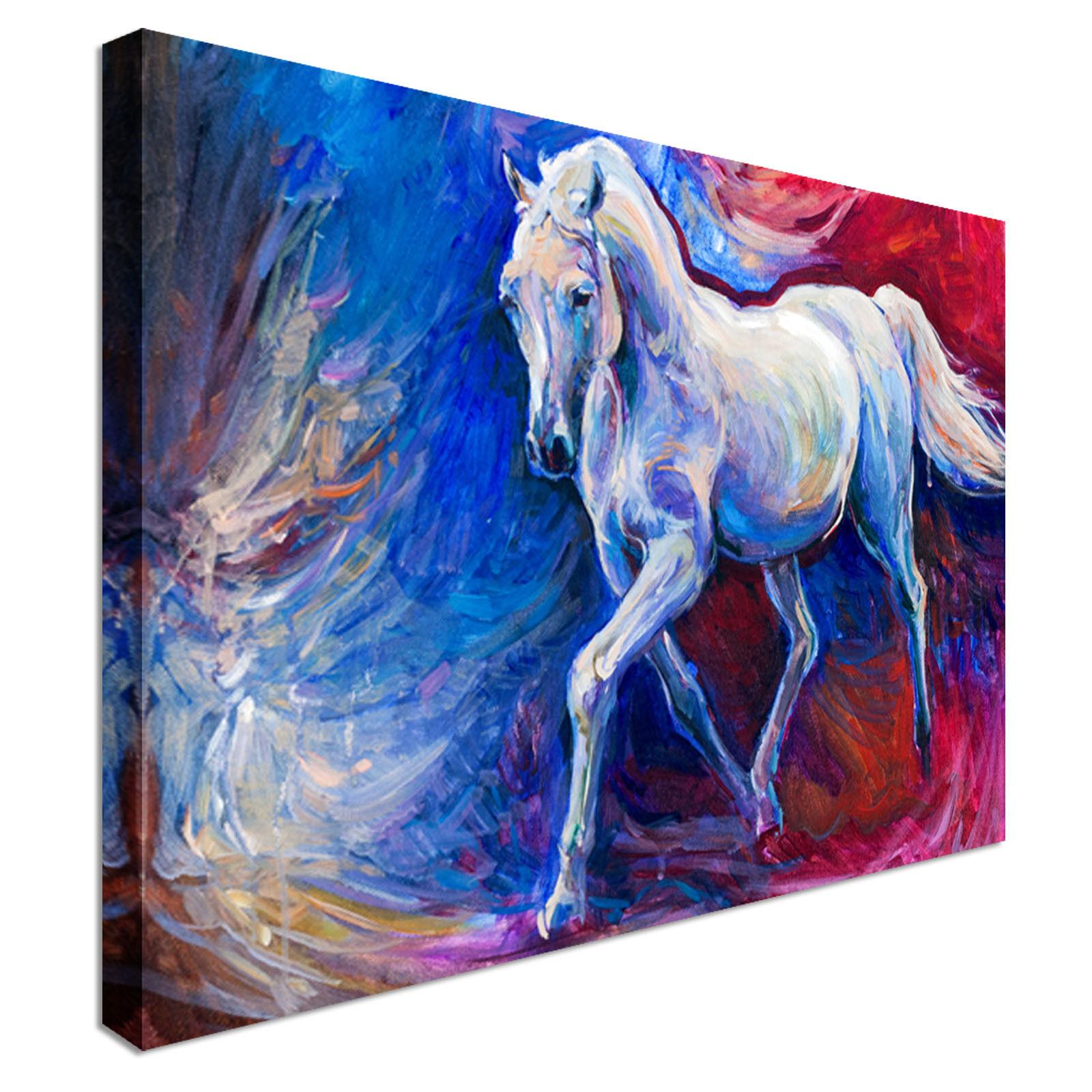 The Running Blau Horse Canvas Wall Art prints high quality