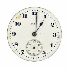 Vintage Elgin Pocket Watch Mechanism Movement Double Roller 19092605 White 29mm
