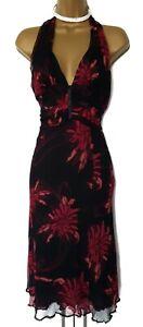 KAREN-MILLEN-12-UK-Black-Red-Floral-Halter-Silk-wedding-party-occasion-Dress