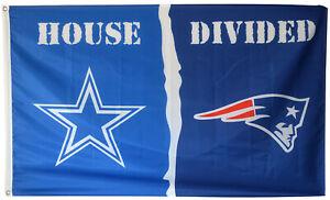 New England Patriots and Philadelphia Eagles Helmet Divided Flag 3x5ft