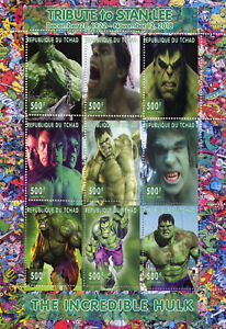 Chad-2018-CTO-Incredible-Hulk-Stan-Lee-Superheroes-9v-M-S-Comics-Movies-Stamps