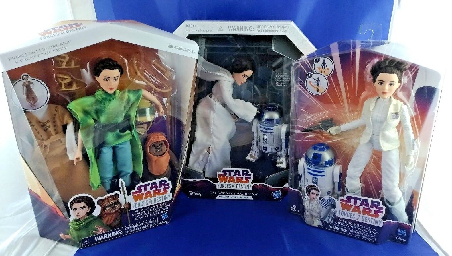 Star Wars Forces of Destiny Princess Leia Movie Set of 3, New Hope, Empire, Jedi