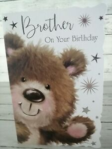 Birthday Card For Brother On Your Birthday, Cute Brown Bear With Silver Stars