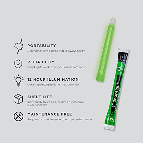 Lot 10 Green Cyalume Lightsticks Emergency Survival Prepper Doomsday EXP 06//2021