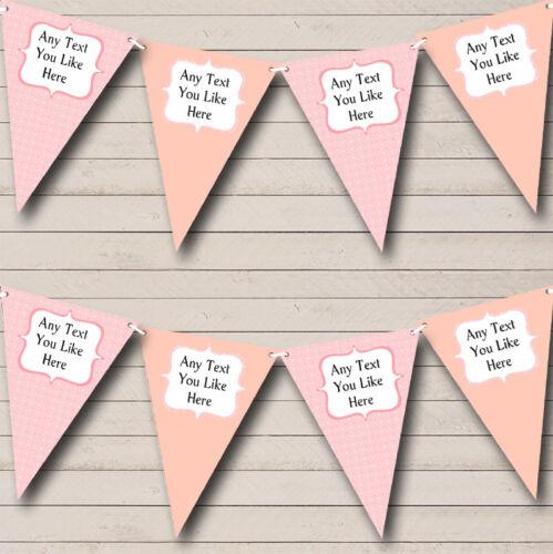 Parti bannière Bunting Peach Pink Polkadot Personnalisé Baptême Baptême