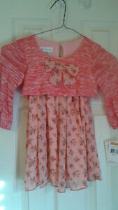NEW-Bonnie-Jean-Size-3T-Toddler-Girl-039-s-Coral-Print-Dress-NWT