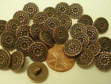 Lot of 12 Electroplated 1/2 in (12mm) Plastic Ornate Bronze/Copper Buttons (#A)