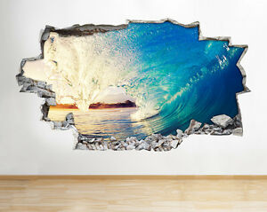 A221 ocean sea wave surfing beach wall decal poster 3d art stickers