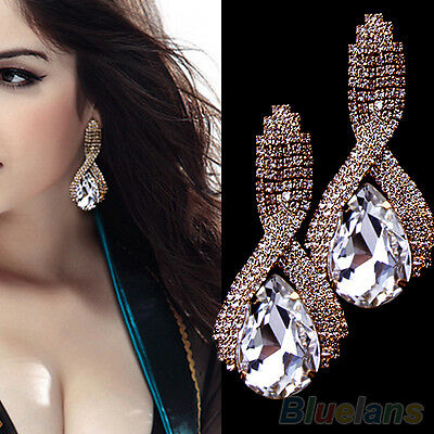 Women Rhinestone Teardrop Crystal Golden Drop Stud Party Bridal Wedding Earrings