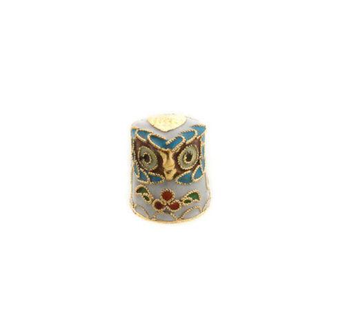 Dé à Coudre Chouette En Metal Emaille Thimble Collection   S5 8332