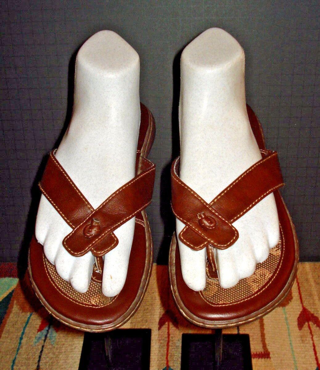 Born BOC Brown Leather T-Strap Slide Sandal Sz. 39 EXCELLENT! EU / 8 US EXCELLENT! 39 abb58e