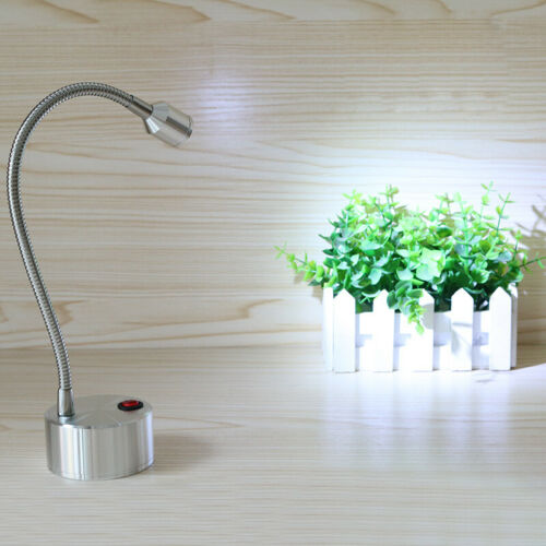 Soft Pipe 3W LED Picture Light Desk Lamp Cupboard Button Powered by Batteries