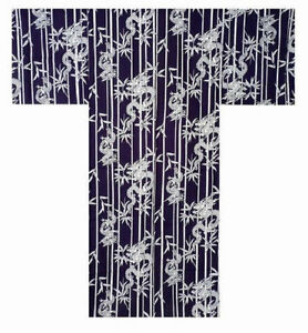 "Japanese Yukata Kimono Sash Belt Robe Men 64"" XL Cotton RYU Dragon Made in Japan"