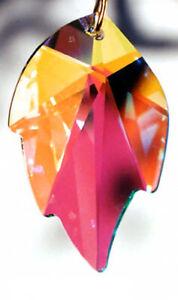 SWAROVSKI-8805-26mm-Austrian-Crystal-Clear-AB-LEAF-Prism-Crystal-Pendant-w-Logo