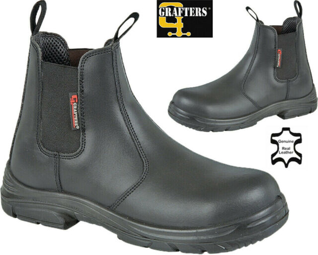 Grafters M9509B Mens Super Wide Dealer Safety Boots Brown