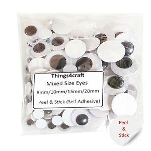 Gli-occhi-dolci-Autoadesivo-adesive-Miste-Taglia-Confezione-8-10-15-20mm
