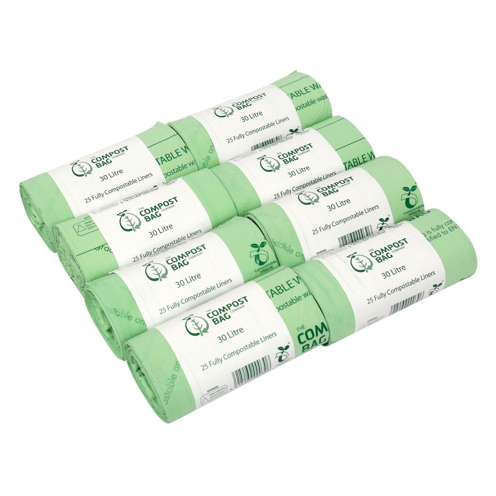 200 x 30L Compost Bag Compostable Kitchen Caddy Waste Liners - bags EN13432