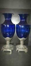 2 ANCIEN VASE URNE VERRE REGULE ART NOUVEAU DECO PAIRE BELLE DECORATION BLEU H33