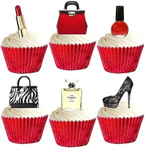 Image Is Loading Bling Makeup Handbag Shoes Edible Cup Cake Toppers