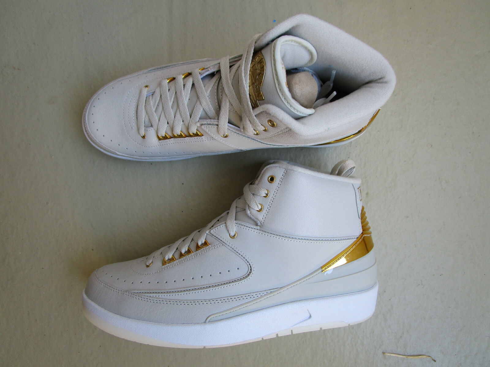 "Nike Air Jordan 2 II Retro 45 2016 ""Quai 54"" Light Bone Metallic gold-White"