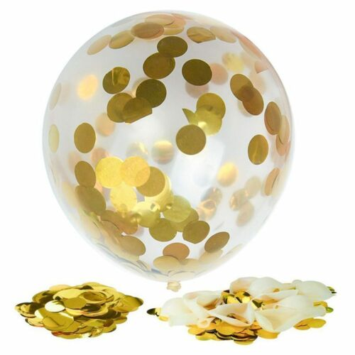 12x Gold Confetti Filled Transparen Balloons 12 Inch for Wedding Birthday P E7P6