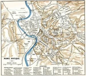MAP-ANTIQUE-HISTORIC-1870-ANCIENT-ROME-CITY-PLAN-REPLICA-POSTER-PRINT-PAM0915