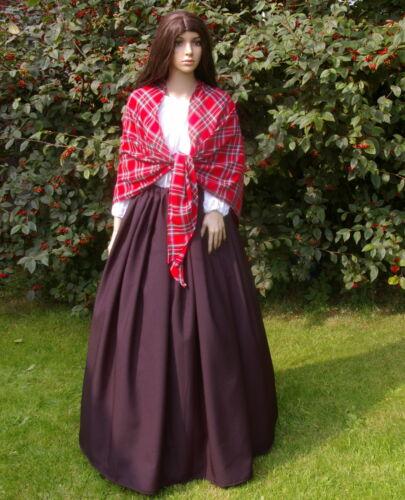 Mesdames Victorienne Paysan Mill Worker 3pc Déguisement Royal Stewart Châle