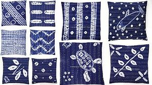 16-034-KANTHA-THROW-TIE-DYE-INDIGO-BLUE-CUSHION-PILLOW-COVER-Bohemian-Throw-Decor