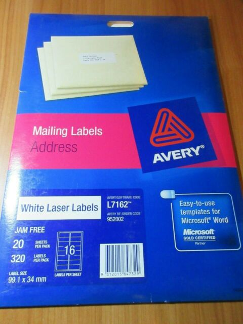 1 pack of Avery Laser Address Labels L7162 White  99.1x34mm 20 sheets pack