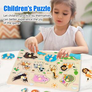 Enfants en Bois Board Peg Puzzle Jigsaw fruits légumes Baby Kids Educational D