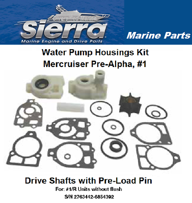 Water Pump Kit Mercruiser #1 Pre-Alpha Waterpump Kit w//Housings for Pre-Load Pin