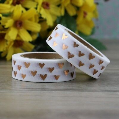 Golden Copper Heart Butterfly DIY Planner Craft Japanese Foil Washi Tape 10m Set