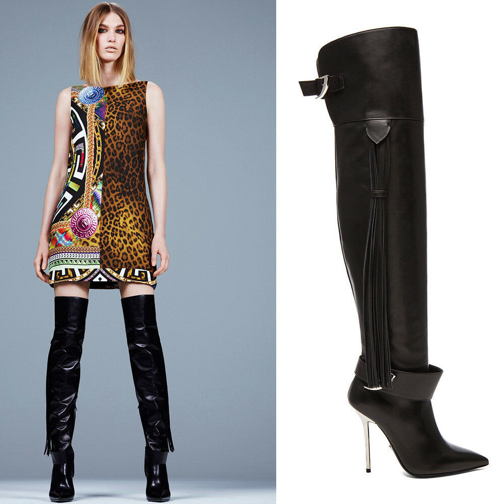 New Versace Black Leather Thigh High Boots with Tassel 36 - 6