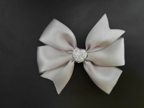 Hair Bow Silver Grey Satin 9cm on Alligator Clip