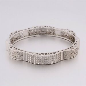 Twinkling-fashion-stylish-white-Topaz-band-18K-white-gold-filled-bracelet