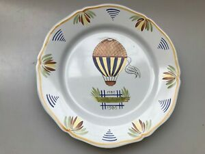 HENRIOT-QUIMPER-1989-HOT-AIR-BALLOON-PLATE-VIVE-LIBRE-DINNER-WALL-PLATE-VINTAGE