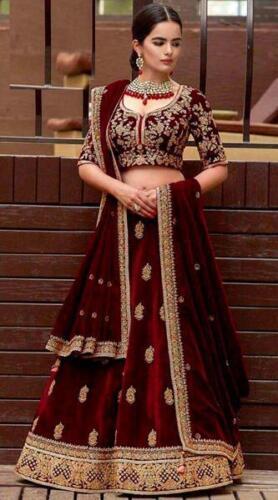 Velvet Lehenga Choli Chunri Designer Wedding Wear Lengha Indian Lahanga Sari