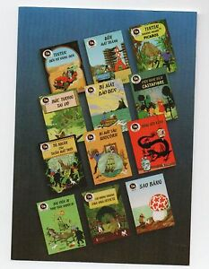 Carte-postale-Tintin-Les-portraits-de-Tintin-carte-n-24-albums-en-vietnamien